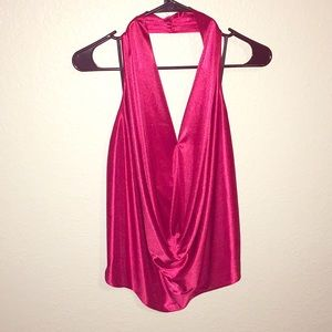 Red silky halter with front draping